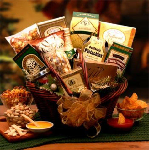 Send this Taste of the Holidays Gift Basket to help a favorite friend, loved one or business associate to savor the holidays this year. Weight 6 lbs. They'll love the luxurious dark stain market basket filled with Belgian Truffles, Chocolate Truffle cookies, Gourmet Pistachios, Butter Toffee pretzels, white chocolate popcorn and more.