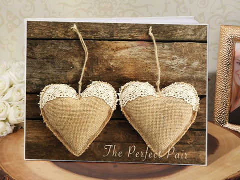 Rustic Perfect Pair Hearts Guest Book - Treasures Made Just Because