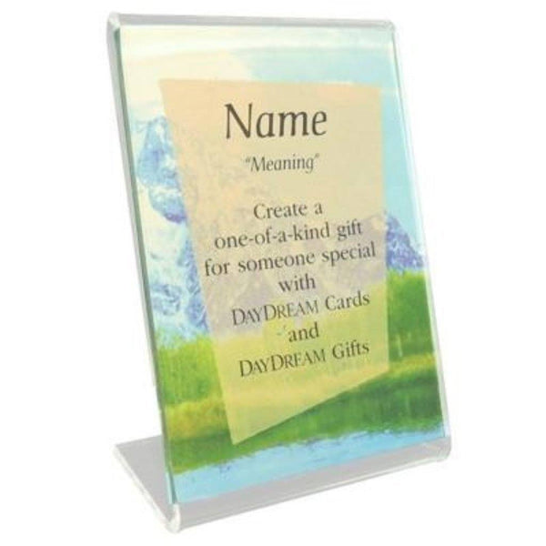 Buy this Acrylic Single Frame that will become a keepsake gift when combined with a Daydream Scripture Name Card.  Dimensions: 3.5 x 2.5.  Color Clear.