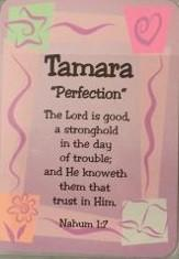 Buy Girl Daydream Scripture Name Cards that begin with T. Inspirational bible verse with meaning of the name is pre-printed on each name card. 19 Standard Names are Available. All Female and Girl Names that start with the Letter T. (Tamara - Trudy) Colors and Background Prints vary. Card Dimensions 2.5 x 3.5 Tall. Every Girl and Female will love to see her name and meaning in print on a card.