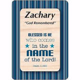 Buy Boy Daydream Scripture Name Cards that begin with Z. Inspirational bible verse with meaning of the name is pre-printed on each name card. 1 Standard Names are Available. All Male and Boy Names that start with the Letter Z. (Zachary)  Colors and Background Prints vary. Card Dimensions 2.5 x 3.5 Tall. Every Boy and Male will his love to see his name and meaning in print on a card.