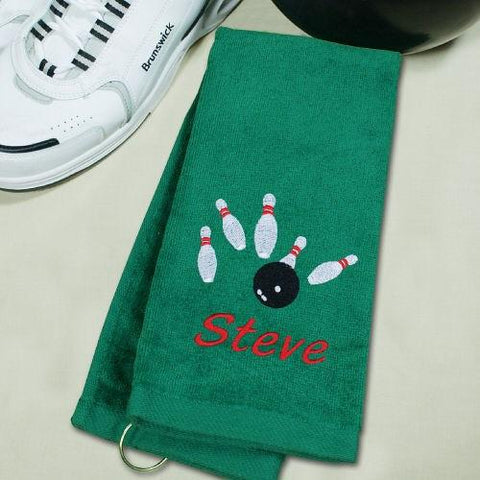 Embroidered Hand Towel with Name for a Bowler - Treasures Made Just Because
