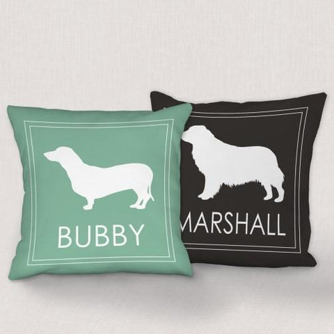 "Buy a Dog Breed Personalized Throw Pillow that is available in 2 sizes 14"" and 18""on a premium Canvas Pillow Sham.  Available in 2 Colors: Sage and Black."
