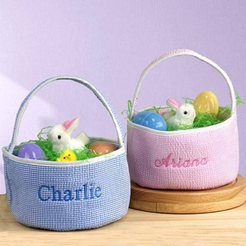 Embroidered Seersucker Round Caddy Personalized Easter Basket - Treasures Made Just Because