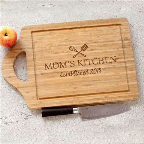 Engraved Mom's Kitchen Cutting Board - Treasures Made Just Because