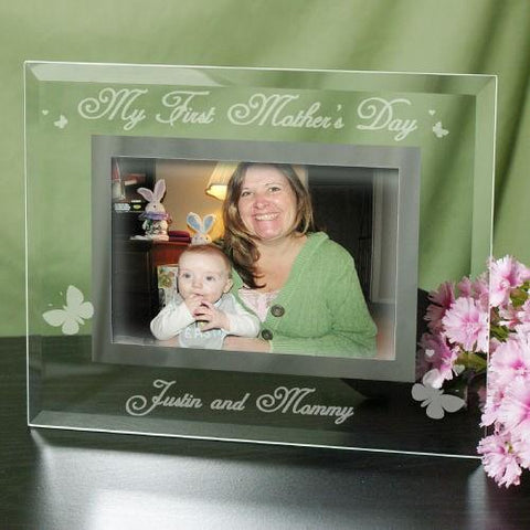 Engraved My First Mother's Day Glass Frame - Treasures Made Just Because