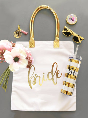 Gold Bridal Party Tote Bags - Treasures Made Just Because