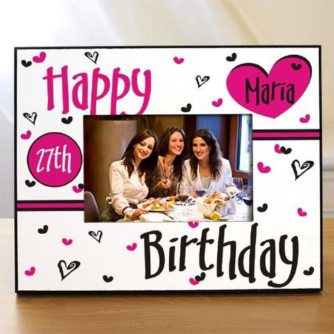 "Create a Happy Birthday Personalized Printed Frame that measures 8"" x 10"" and holds a 3.5"" x 5"" or 4"" x 6"" photo. Easel back allows for desk display. Personalized for Free."