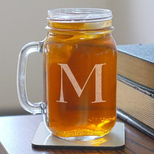 "Buy a Personalized Initial Mason Jar 16 oz drinking jar. Useful for Cold beverages. Measures 5-1/4"" High with a  opening 2-5/8"" in Diameter. Ships in 5-7 Business Days."