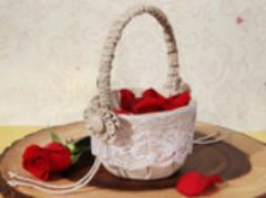 Rustic Burlap and Lace Flower Girl Basket - Treasures Made Just Because