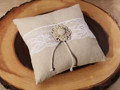 Rustic Burlap and Lace Ring Bearer Pillow - Treasures Made Just Because
