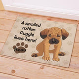 A Spoiled Rotten Dog Lives Here Personalized Doormat - Treasures Made Just Because