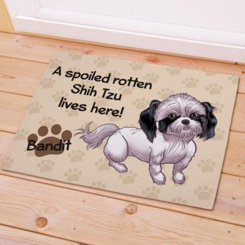 "Buy A Spoiled Rotten Dog Lives Here Personalized Doormat. Dimensions: 18"" x 24"" or 24"" x 36"". 14 Different Dog Breeds. DOG'S NAME ADDED FREE. Ships in 4-5 Days."