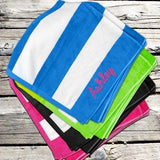 Striped Velour Beach Towel with Embroidered Name - Treasures Made Just Because
