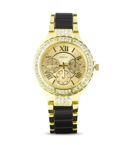 Gold Black Embellished Watch