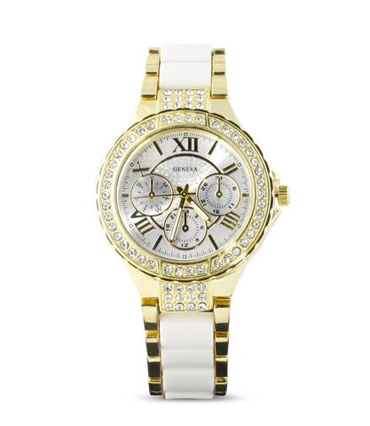 Gold White Embellished Watch