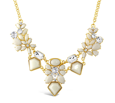 Vanilla Gem And Crystal Necklace