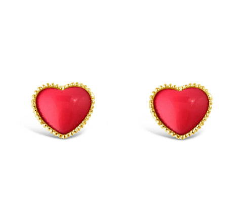 Pink And Gold Heart Earrings