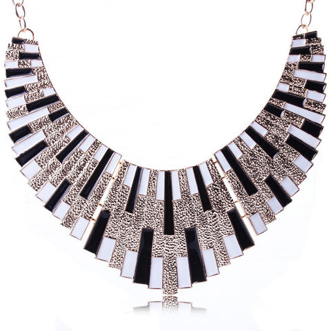 Black and White Gold Polished Collar Necklace