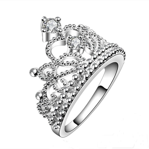 Silver Princess Crown Ring