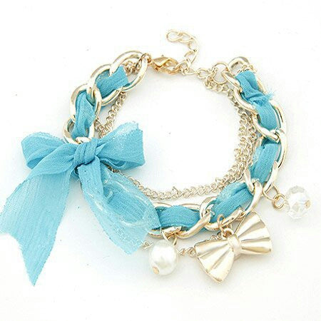 Blue Ribbon and Charm Bracelet
