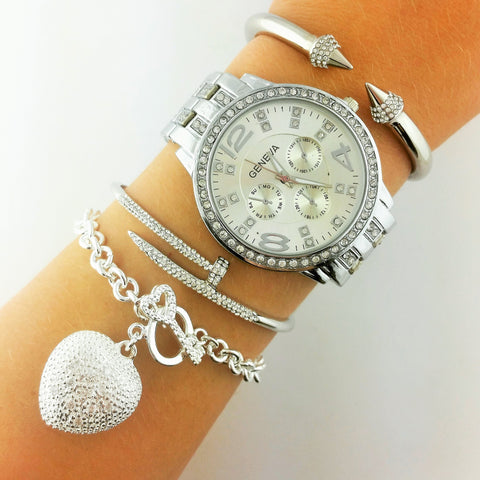 Love Hurts Silver Watch Set