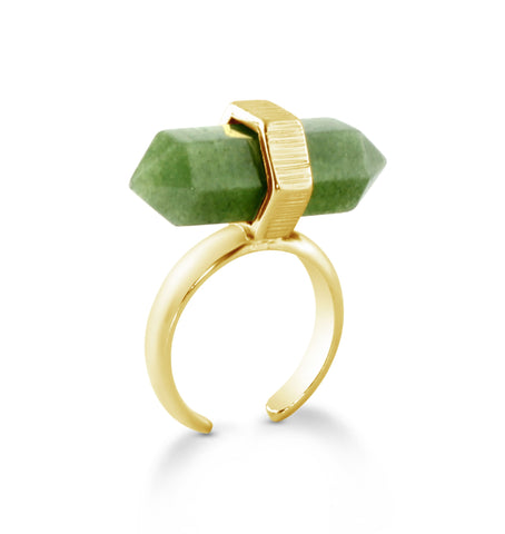 'Luna' Natural Crystal Ring - Green
