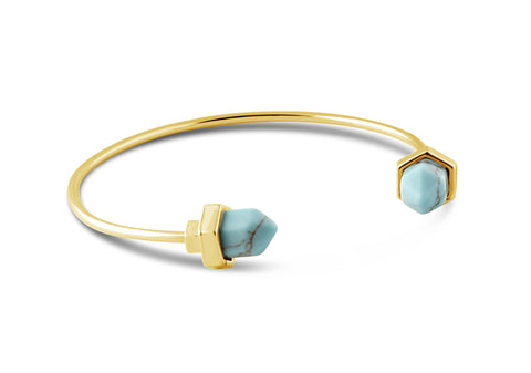 Luna Turquoise Crystal Gold Bangle