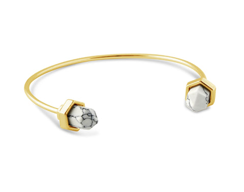 Luna White Crystal Gold Bangle