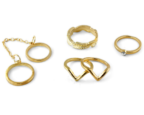 Gold Midi Knuckle Ring Set