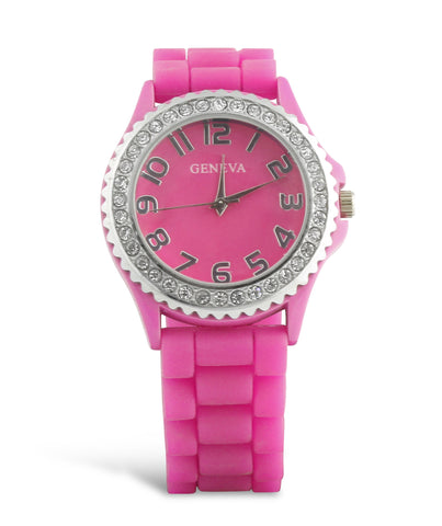 Hot Pink Rhinestone and Silicone Watch