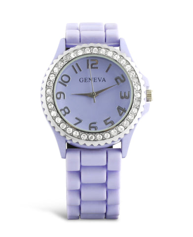 Rhinestone & Silicone Rubber Watch - Light Purple
