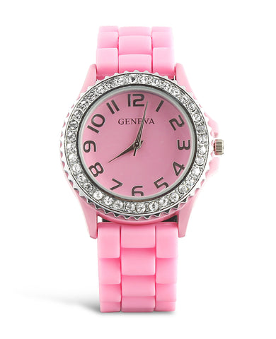 Rhinestone & Silicone Rubber Watch - Light Pink