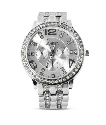Silver Rhinestone Embellished Watch