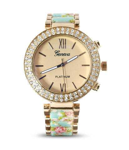 Blue Floral Gold Stainless Steel Watch