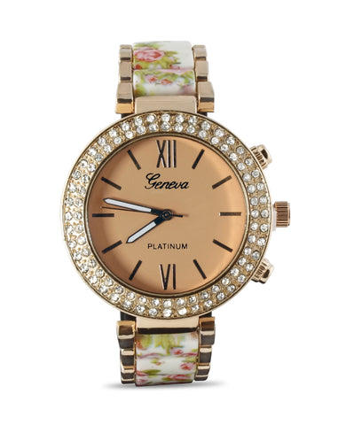 White Floral Rose Gold Stainless Steel Watch