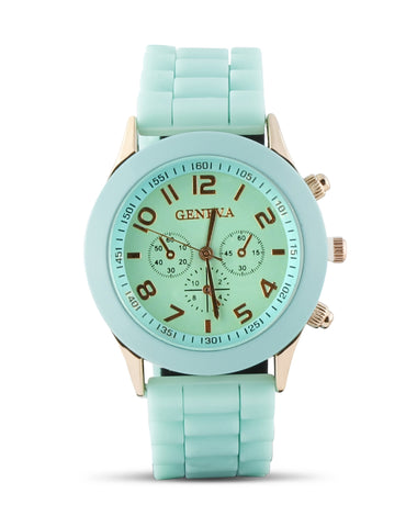Teal Gold and Silicone Watch