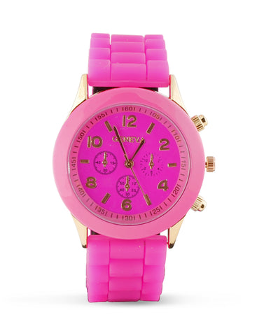 Hot Pink and Gold Silicone Watch