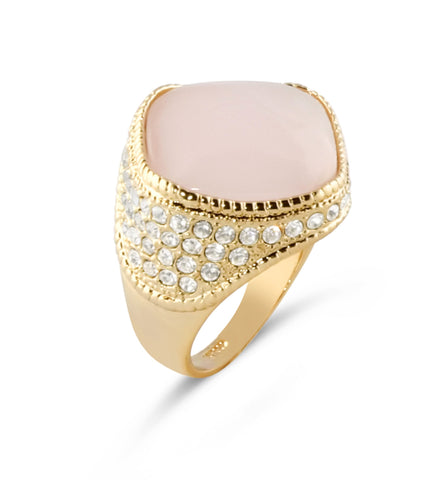 Pink Opal Gold Ring