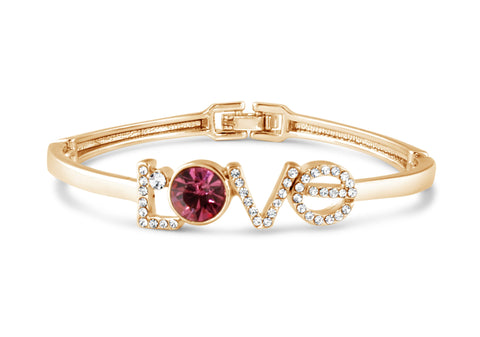 Gold and Pink Gem Love Bangle