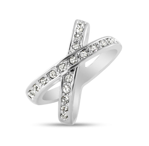 Criss Cross White Gold Ring