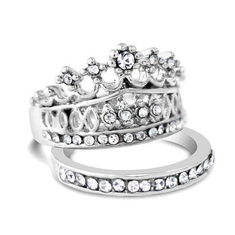 Silver Queen Crown Ring Set
