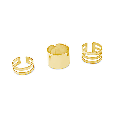 Gold Industrial Ring Set 3pc