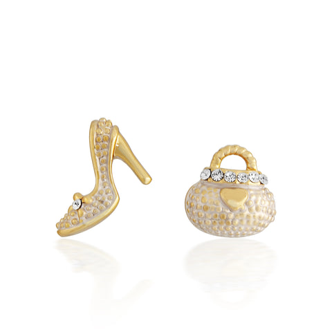 White And Gold Stiletto And Handbag Earring Set