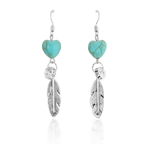 Turquoise Heart and Feather Earrings