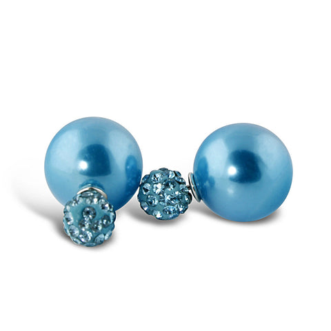 Blue Pearl Rhinestone Earrings