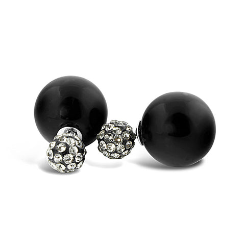 Black Pearl Rhinestone Earrings