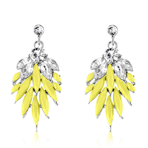 Yellow Icicle Crystal Earring