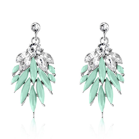 Teal Icicle Crystal Earring