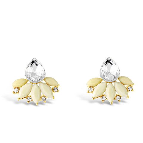 Blossom Beige Crystal Earrings